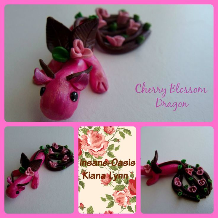 Cherry blossom dragon made from polymer clay.