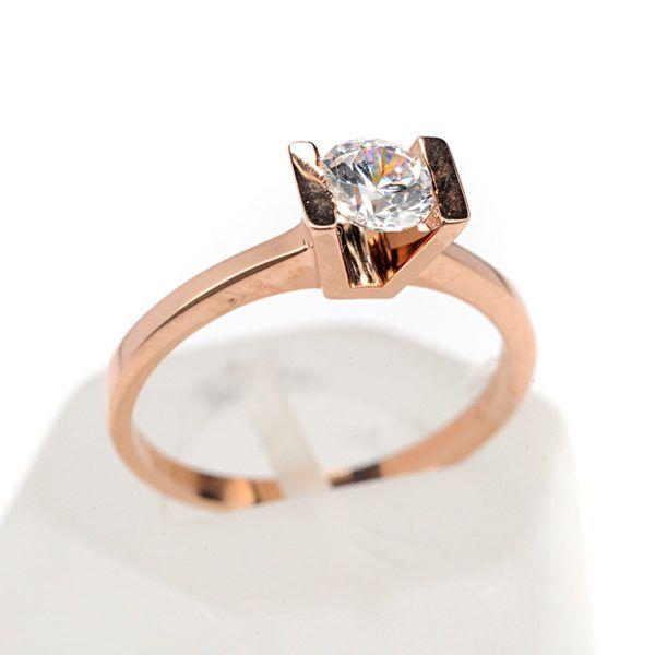 Μονόπετρο δαχτυλίδι Al'oro  Κ18 ροζ χρυσό  διαμάντι 1493