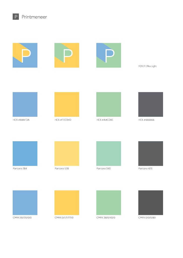 Logo's en kleurenschema voor Printmeneer.