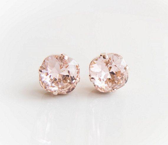 Rose Gold Crystal Earrings In Vintage Swarovski Studs Pink