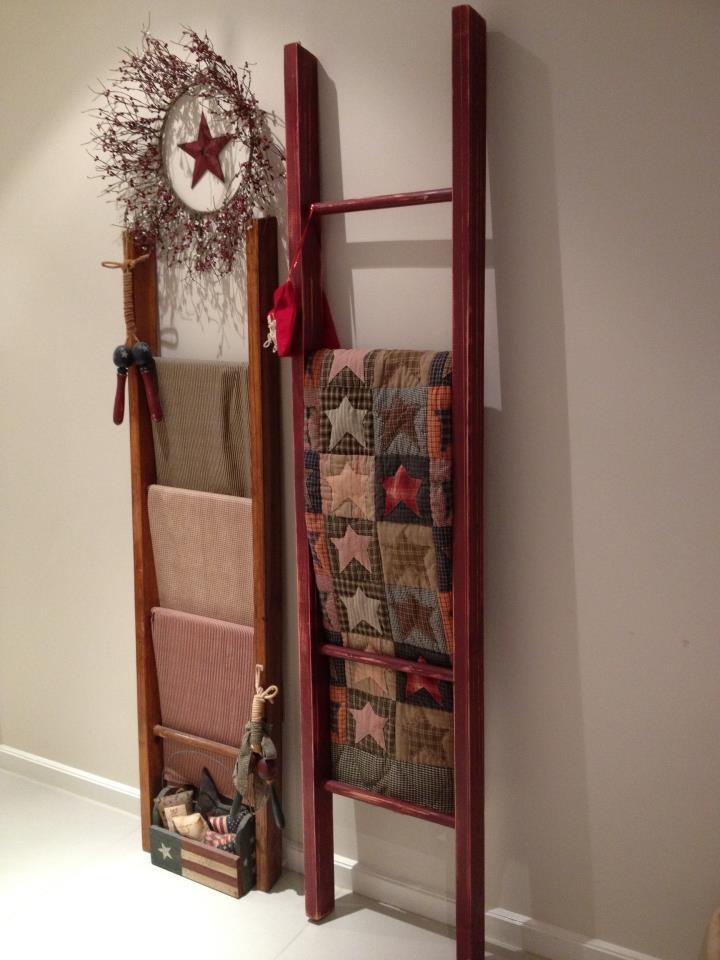 Primitive Ladder Quilt Rack - WoodWorking Projects & Plans