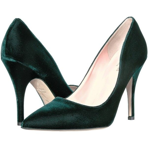 Kate Spade New York Licorice (Emerald Green Velvet) High Heels (€195) ❤ liked on Polyvore featuring shoes, sandals, high heel shoes, pointed toe sandals, leather sole shoes, pointy toe shoes and pointed toe high heels shoes