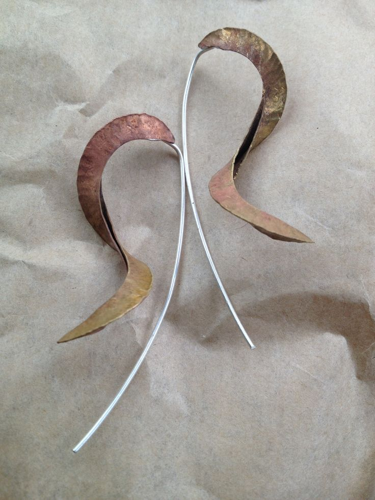 Sterling silver and copper fold formed earrings
