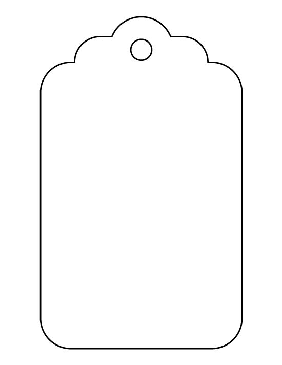 Large gift tag pattern. Use the printable outline for crafts, creating stencils, scrapbooking, and more. Free PDF template to download and print at http://patternuniverse.com/download/large-gift-tag-pattern/