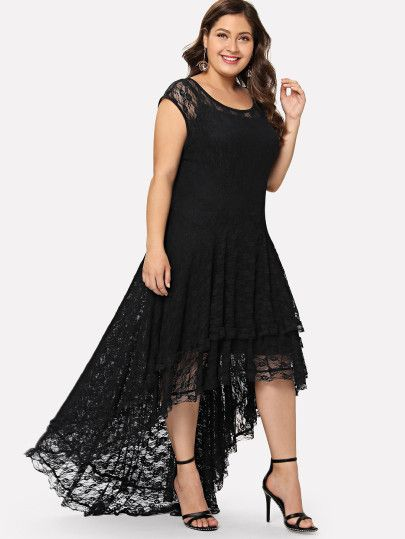 9567f190c4f Plus Dip Hem Layered Floral Lace Dress -SheIn(Sheinside)