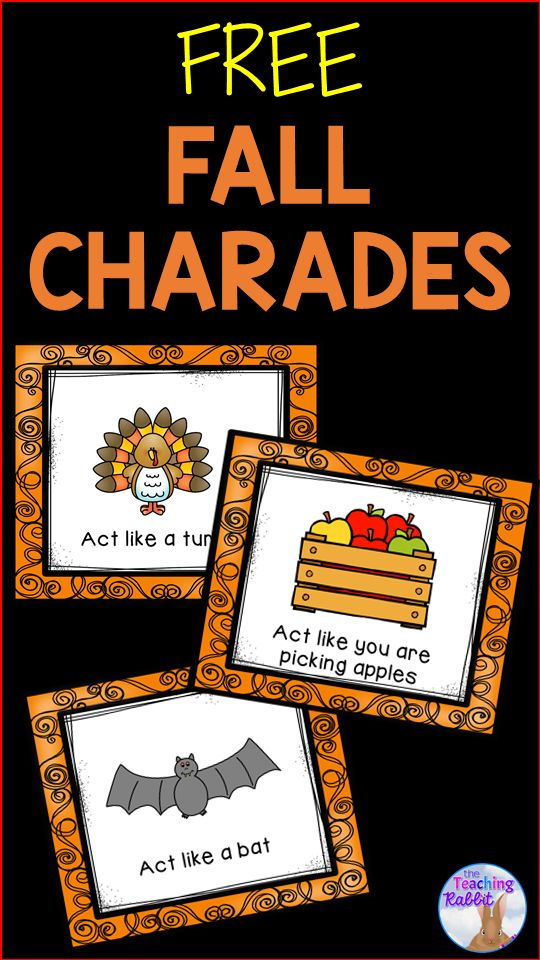FREE Fall Charades! Great for drama, brain breaks or just for some ...