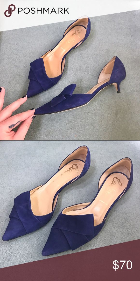 Super adorable Italian suede kitten heels! Super adorable Italian suede kitten heels! Worn approximately 5 times! Size 6 1/2. Gorgeous royal blue/almost navy shade. Perfect for the office or a costume. These shoes have a lot of elegance & personality! Butter Shoes Shoes Heels