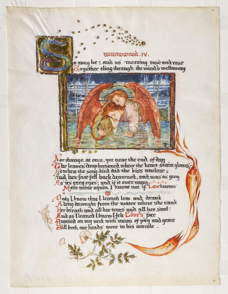 Willowwood IV, page from an illuminated manuscript of the sonnet Willowwood by Dante Gabriel Rossetti, one of four pages, ink, watercolour and gold leaf on vellum: British, by Phoebe Anna Traquair, 1890