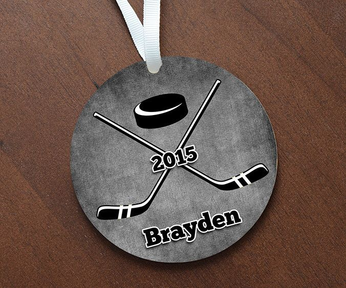 Personalized Boys Hockey Sticks Ornament Keepsake - Custom Made to Order by DesignsLM on Etsy https://www.etsy.com/listing/214296238/personalized-boys-hockey-sticks-ornament