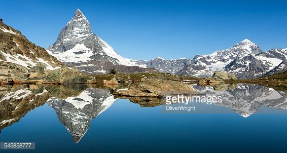 Switzerland, Matterhorn reflected in Riffelsee Lake