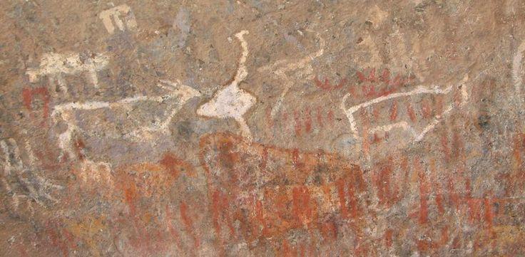 Rock art at the Wonderwerk Cave.