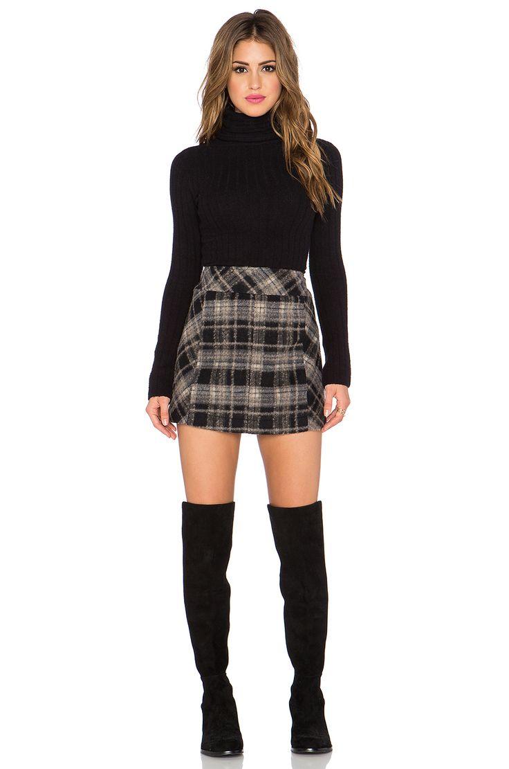 Free People Zip it to Plaid Mini Skirt* in Black Combo