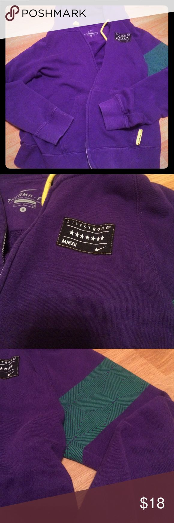 Nike hoodie Soft purple hoodie with terry cloth material  inside. Yellow drawstring and pocket decoration and green armband design on one sleeve. Worn once, like new. Nike Tops Sweatshirts & Hoodies