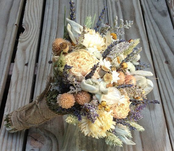 Champagne Collection Bridesmaid Bouquet By FamilyDriedFlowers