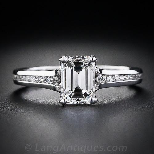 1.01 Carat Emerald Cut Diamond Ring