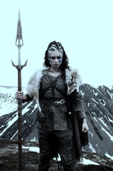 Pictish female warrior with a definite attitude problem.  Contrary to eighteenth century French artist's imaginative art, the Picts did not run around the windy and cold highlands in their birthday suits.  From the movie Centurion.