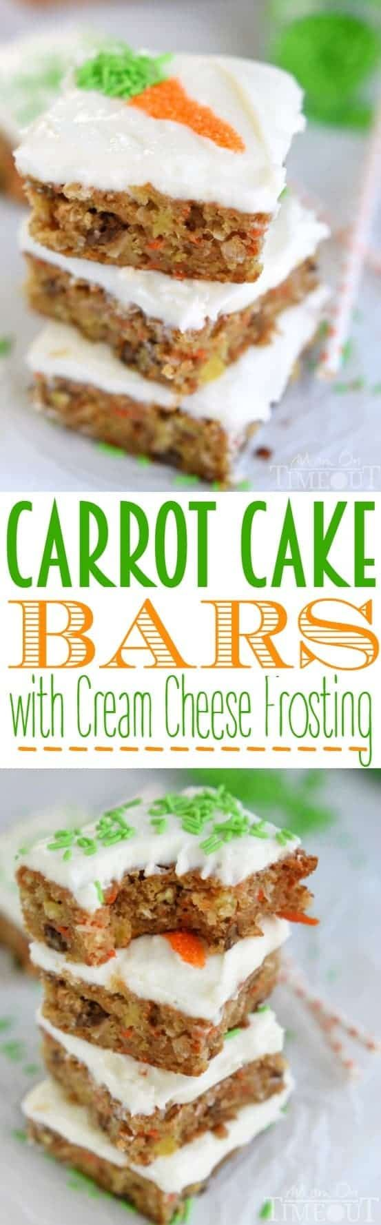 The incredible taste of your favorite carrot cake but in bar form! These Carrot Cake Bars with Cream Cheese Frosting are as easy as 1-2-3 and disappear just that quickly! | MomOnTimeout.com