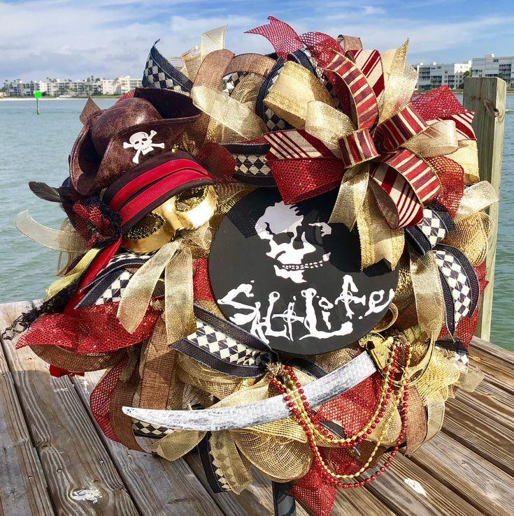 Gasparilla wreath, Gasparilla decor, Pirate wreath, Pirate decor, Pirate gift, Salt Life sign, Pirate hat, Gasparilla door hanger by AmeliasWreathsofJoy on Etsy