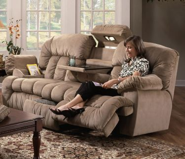 aurelia reclining sofa with lights table and drawer franklin aurelia