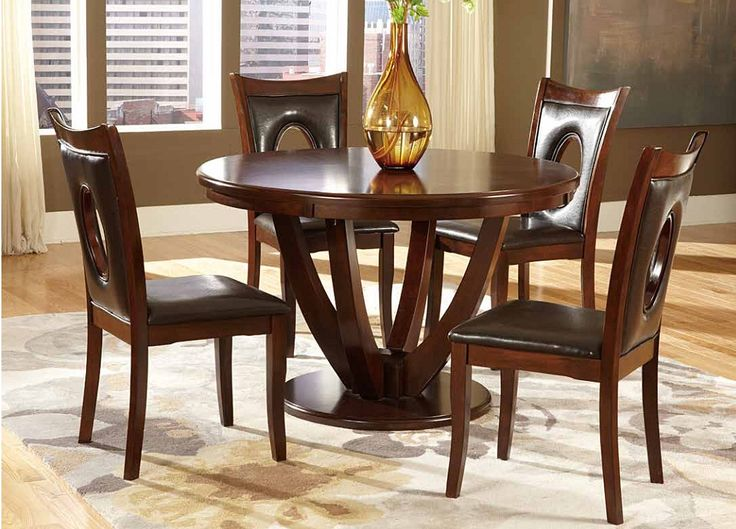 Vanbure Dark Brown Cherry Wood Casual Dinette Set Round
