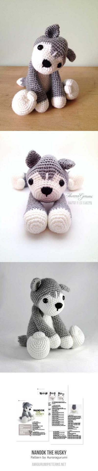 Nanook the husky amigurumi pattern by AuroraGurumi