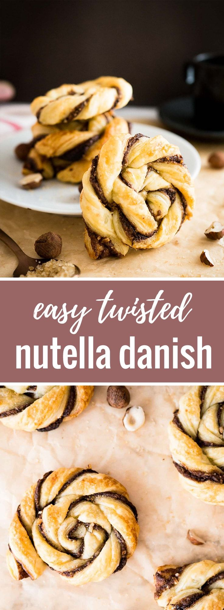 Nutella Danish | Danish pastry | Nutella pastry | Puff Pastry | Easy Puff Pastry Dessert | Hazelnuts | Brunch | Breakfast pastries | 30-minute dessert