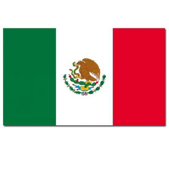 Luxe vlag van Mexico. Formaat Mexicaanse vlaggen: 100 x 150 cm. Materiaal Mexicaanse vlag: 100% polyester. In deze winkel vindt u nog veel meer Mexicaanse versiering en feestartikelen. Deze vlag van Mexico is voor binnen en buiten gebruik en heeft ophangringen.