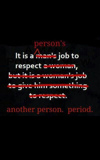 Respect Other People's Rights & Freedoms. It's not gender dependent! #Feminism #Equality #Genderism