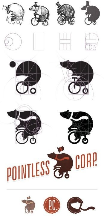 Pointless Corp: meeting all of your bear on tiny bicycle needs. Or that's one way to see it. Another is the evolution of simple penciled sketches straightening into geometric shapes before growing larger and in motion. It is the classical process of creating a visual solution to one's needs. And what better way to display something that is a pointless concept then having a bear ride a tiny bike while wearing a hat?
