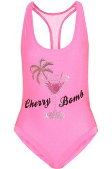 Filles à Papa Cherry Bomb Swarovski crystal-embellished racer-back swimsuit | THE OUTNET