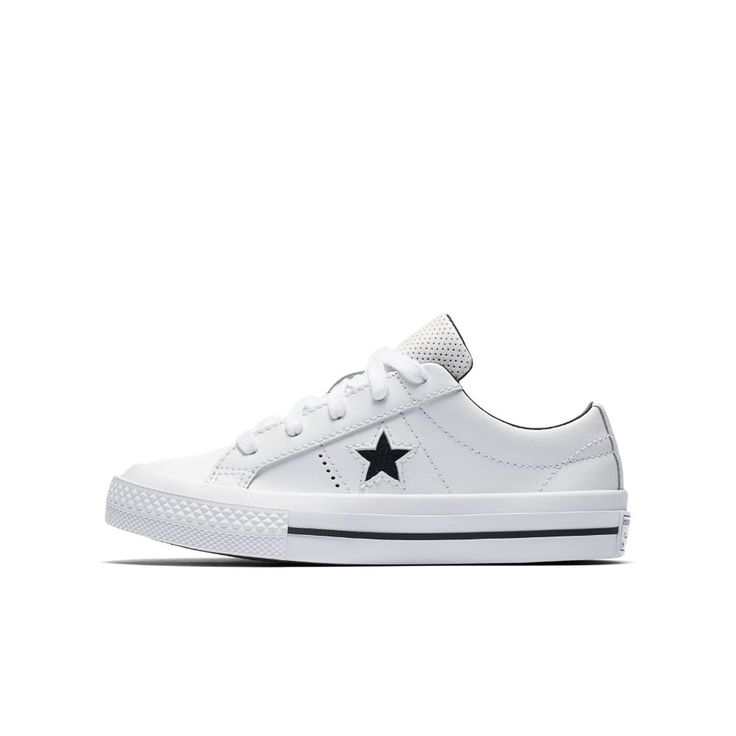Converse One Star Perforated Leather Little/Big Kids' Shoes Size 2Y (White)