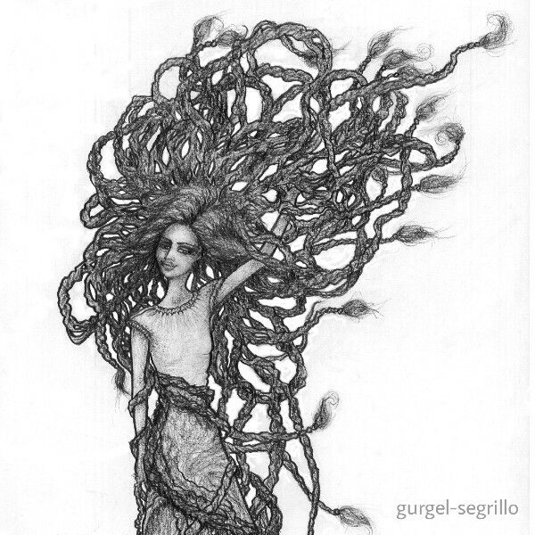 """Forget not that the earth delights to feel your bare feet and the winds long to play with your hair."" - Khalil Gibran Original pencil drawing by gurgel-segrillo"