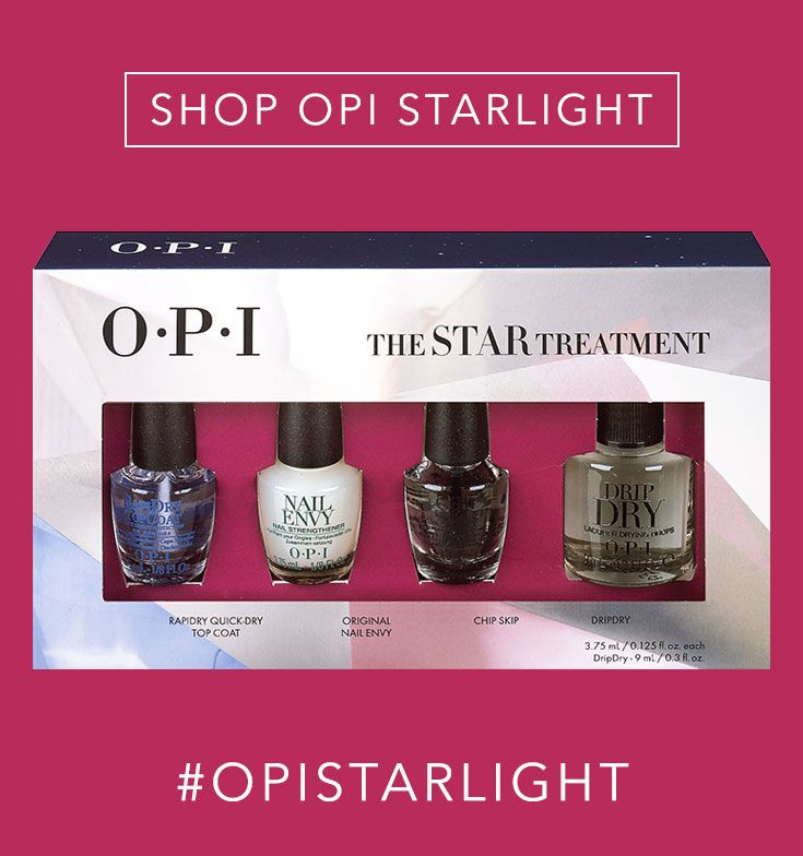 Shop the Gift: OPI The Star Treatment //  This gift set includes mini-sized bottles of all our top manicure essentials: Rapidry Quick-Dry Top Coat, Original Nail Envy nail strengthener, Chip Skip & Dripdry!