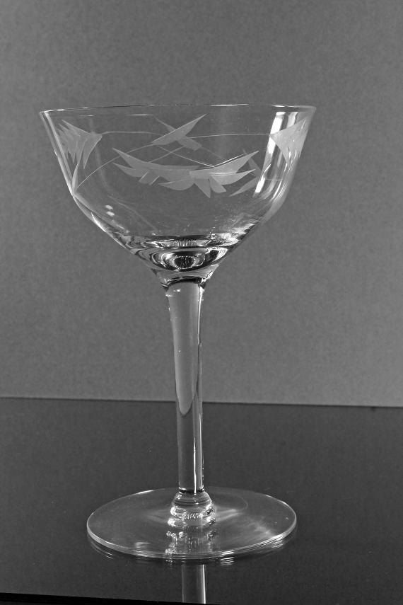 Etched Champagne Coupe Wine Glass Vintage by MountainAireVintage