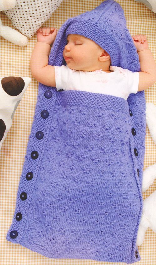 Chunky Baby Sleeping Bag Knitting Pattern- Converts to Hooded Poncho 0-6 month