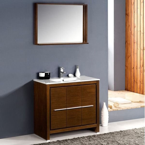 Image Of Fresca Allier inch Wenge Brown Modern Bathroom Vanity with Mirror