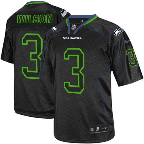 mens nike seattle seahawks russell wilson elite lights out black nfl jersey