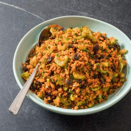 Chopped Carrot Salad with Celery and Raisins
