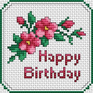 Beautiful floral Happy Birthday Tag/Card, free cross stitch pattern from Alita Designs