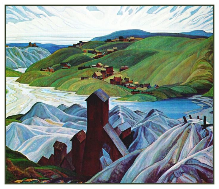 Franklin Carmichael's Northern Ontario Silver Mine Canada Landscape Counted Cross Stitch or Counted Needlepoint Pattern