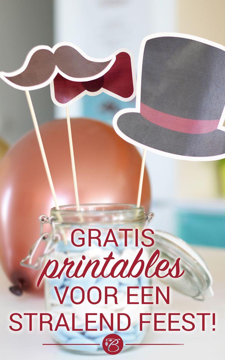 Feestje voor de boeg? Met onze GRATIS printables, een schaar en wat lijm maak je van jouw feestdecoratie in 1-2-3 een waar plaatje! #printables #party #deco #props #Beaublue