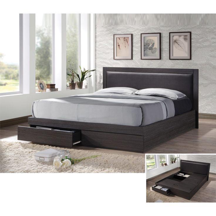 Κρεβάτι Pedro με Κεφαλάρι PVC Zebrano Διπλό 171x206x92cm  με 2 Συρτάρια και Αποθηκευτικό Χώρο