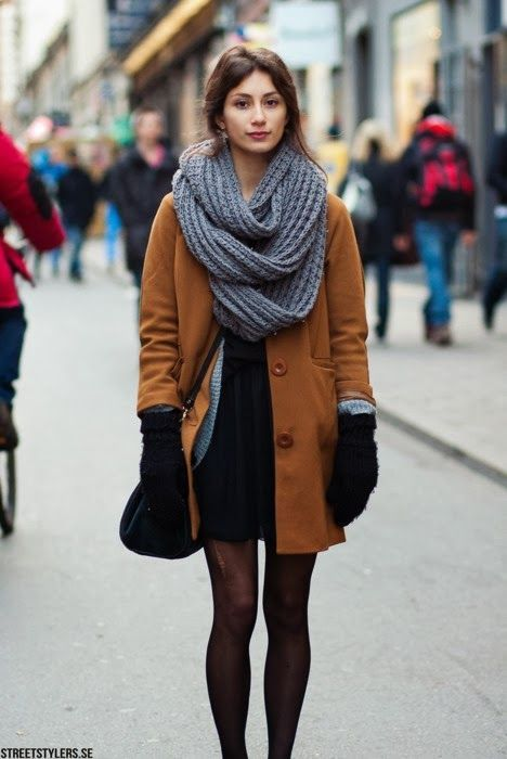 rust peacoat, oversized infinity scarf, basic black tights.... winter perfection!