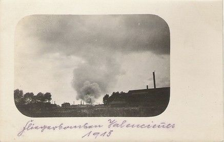 Raid aérien sur Valenciennes 1915.Air raid on Valenciennes 1915.