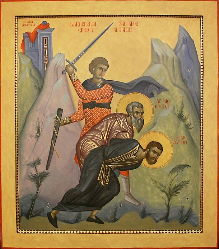 Martyrdom of Sts. Epictetus and Astion, the first Christian martyrs of Dobroudja.  In 290 AD, during the persecutions ordered by Diocletian, Saint Epictetus and Astion suffered martyrdom at Halmyris. Halmyris was a Roman (and later Byzantine) fort, settlement and naval port, located 2.5 kilometers west of the village of Murighiol at the mouth of the Danube Delta in Romania. It is there that the bodies of Sts. Epictet and Astion, were uncovered between 2001 and 2004. (Icon by Razvan Badescu)