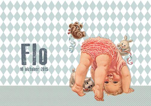 Geboortekaartje Flo - voorkant - Pimpelpluis - https://www.facebook.com/pages/Pimpelpluis/188675421305550?ref=hl (# meisje - retro - vintage - origineel)