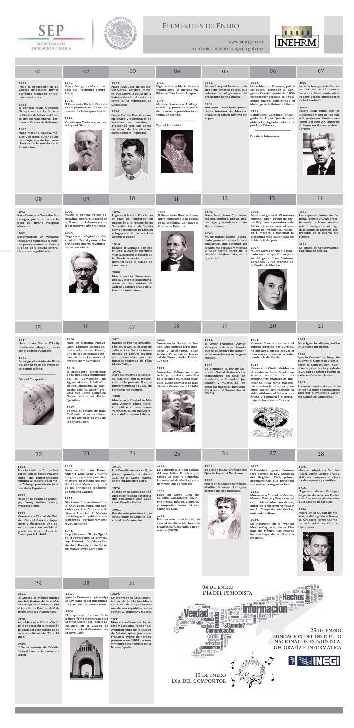 EFEMÉRIDES DE ENERO SEP INEHRM  Efemérides de México para el mes de enero de 2015 en la página del INEHRM - SEP