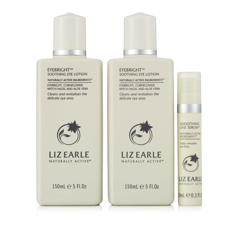 214066 - Liz Earle Eyebright Duo & Smoothing Line Serum  QVC PRICE: £29.00 + P&P: £3.95 This Liz Earle bundle contains a pair of the non-oily, alcohol-free Eyebright Soothing make-up removers that are great if you wear contact lenses or have sensitive eyes, plus the Smoothing Line Serum that'll help protect against the visible signs of ageing on the delicate skin around the eye area. Open your eyes to younger-looking skin with this super set.