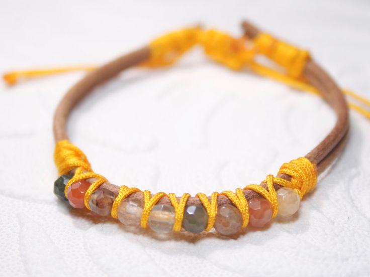 Rutilated Quartz leather bracelet, Orange gemstones bracelet, leather cord wrap bracelet, quartz wrap bracelet, orange gemstone leather by SanguineJewelry on Etsy