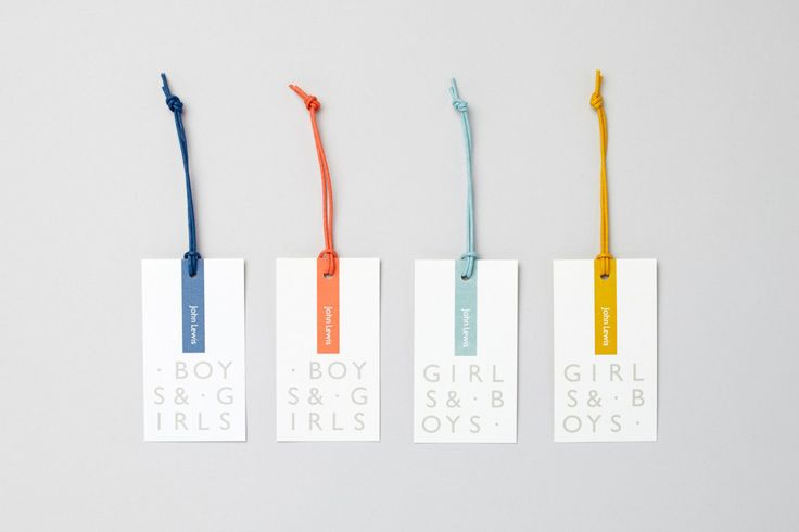 Brand identity and tags for John Lewis Childrenswear Department by Charlie Smith Design, London, UK